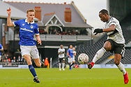 Fulham midfielder Neeskens Kebano (7) controls the ball watched by Oldham Athletic defender Tom Hamer (34) during The FA Cup 3rd round match between Fulham and Oldham Athletic at Craven Cottage, London, England on 6 January 2019.