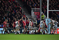 Rugby Union - 2018 / 2019 Gallagher Premiership - Gloucester vs. Exeter<br /> <br /> Gloucester players celebrate at the final whistle after their 24-17 victory, at Kingsholm Stadium.<br /> <br /> COLORSPORT/ASHLEY WESTERN