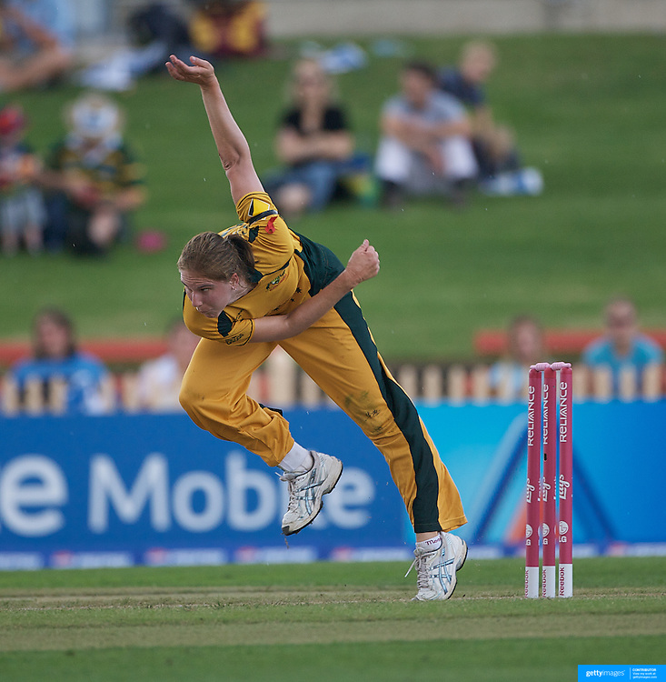 Emma Sampson bowling during the Australia V New Zealand group A match at North Sydney Oval in the ICC Women's World Cup Cricket Tournament, in Sydney, Australia on March 8, 2009. New Zealand beat Australia by 13 runs in the (D/L method)  rain affected match. Photo Tim Clayton