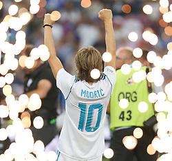 August 17, 2017 - Madrid, Spain - Luka Modric of Real Madrid celebrates after the Supercopa de Espana Final second leg match between Real Madrid and FC Barcelona at Estadio Santiago Bernabeu on August 16, 2017 in Madrid, Spain. (Credit Image: © Raddad Jebarah/NurPhoto via ZUMA Press)