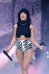 Halsey on stage during Capital's Summertime Ball. The world's biggest stars perform live for 80,000 Capital listeners at Wembley Stadium at the UK's biggest summer party. Picture Credit Should Read: Doug Peters/EMPICS