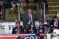 KELOWNA, CANADA - MARCH 26: Don Hay, coach of the Kamloops Blazers stands on the bench against the Kelowna Rockets on March 26, 2016 at Prospera Place in Kelowna, British Columbia, Canada.  (Photo by Marissa Baecker/Shoot the Breeze)  *** Local Caption *** Don Hay;