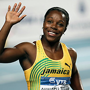 Jamaica's gold medallist Veronica Campbell-Brown poses on the podium during the medal ceremony for the women's 60m at the during the IAAF World Indoor Championships at the Atakoy Athletics Arena, Istanbul, Turkey. Photo by TURKPIX
