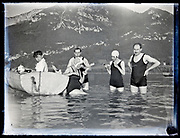 summer lake vacationing with rowing boat  France, circa 1930s