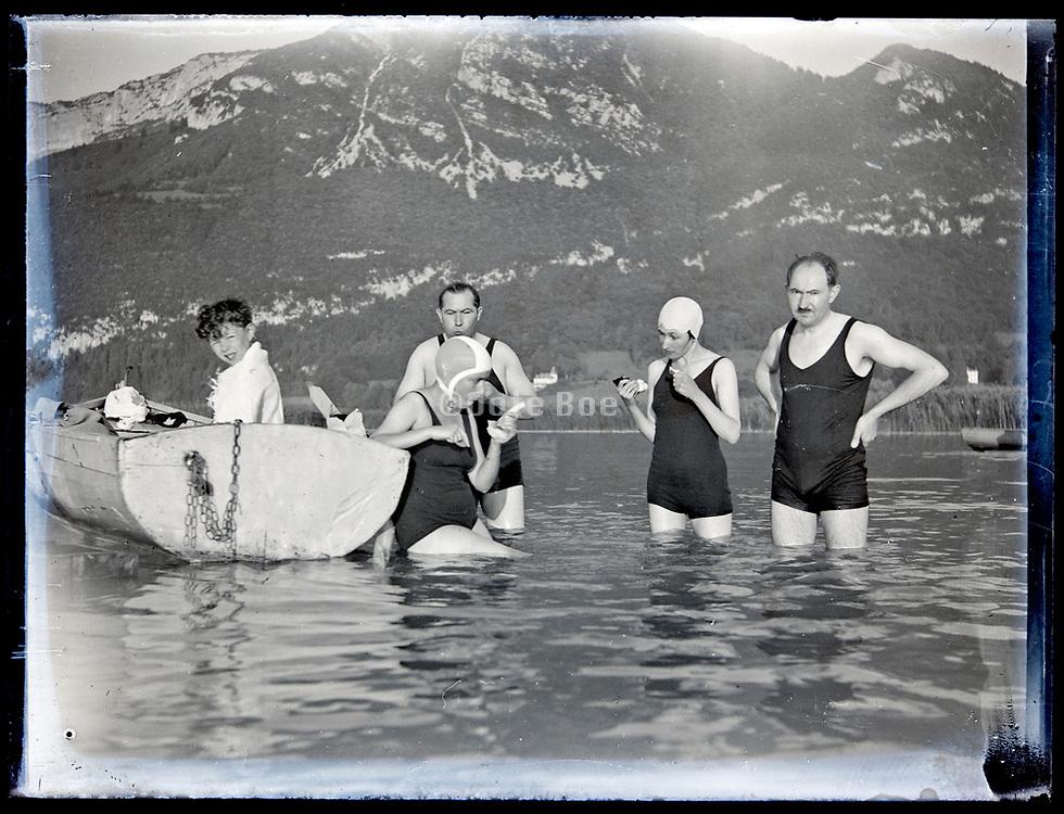 summer lake vacationing with rowing boat  France, circa 1930s