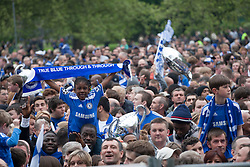 © licensed to London News Pictures. London, UK 20/05/2012. Chelsea fans gather at Eel Brook Common as members of the Chelsea football team parade through the streets of west London today (20/05/12). Photo credit: Tolga Akmen/LNP