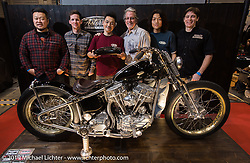 Harley-Davidson's design team poses with Hideki Hoshikawa of Asterisk Motorcycles, the recipient of their Harley-Davidson award, at the Annual Mooneyes Yokohama Hot Rod and Custom Show. (L>R) Dais Nagao, Ben McGinley, Hideki Hoshikawa, head of design Ray Drea, an Asterisk employee and Charlie Wartgow. Japan. Sunday, December 7, 2014. Photograph ©2014 Michael Lichter.