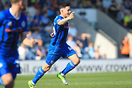 GOAL Ian Henderson begins his celebrations after scoring 1-0 during the EFL Sky Bet League 1 match between Rochdale and Wycombe Wanderers at Spotland, Rochdale, England on 19 April 2019.
