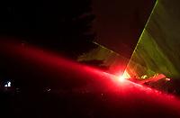 Bialystok, 01.01.2018. Pokaz laserowy podczas Sylwestra Miejskiego . Wladze miasta zrezygnowaly z tradycyjnego pokazu fajerwerkow w trosce o zwierzeta domowe dla ktorych strzelanie z petard jest wielkim stresem fot Michal Kosc / AGENCJA WSCHOD