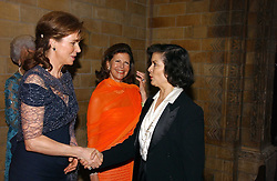 Left to right, HM QUEEN NOOR OF JORDAN, HM QUEEN SILVIA OF SWEDEN and BIANCA JAGGER at a gala dinner in the presence of HM Quenn Silvia of Sweden and HM Queen Noor of Jordan in aid of the charity Mentor held at the Natural History Museum, Cromwell Road, London on 23rd May 2006.<br />