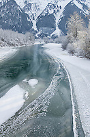 Ice along the Lillooet River near Pemberton, Coast Mountains British Columbia