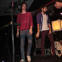 Awkward moment after Darwin Deez and his band pause for a dance break whilst performing live at Sound Control, Manchester, 2013-02-15