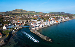 Aerial view of Lower Largo village on coast in Fife, in Scotland, UK
