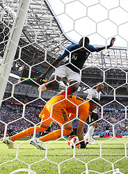 June 30, 2018 - Kazan, Russia - Goalkeeper FRANCO ARMANI (bottom) of Argentina defends during the 2018 FIFA World Cup round of 16 match between France and Argentina in Kazan. (Credit Image: © Li Ming/Xinhua via ZUMA Wire)
