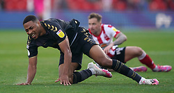 Charlton Athletic's Akin Famewo after a challenge from Lincoln City's Chris Maguire during the Sky Bet League One match at the LNER Stadium, Lincoln. Picture date: Saturday October 16, 2021.