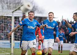 Rangers Jason Cummings celebrates scoring his side's first goal of the game during the William Hill Scottish Cup, fifth round match at Somerset Park, Ayr.