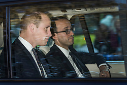 © Licensed to London News Pictures. 28/11/2017. London, UK. Prince William returns to Kensington Palace. Clarence House has announced that Prince Harry is engaged to Meghan Markle. They will be married in the Spring of 2018. Photo credit: Peter Macdiarmid/LNP