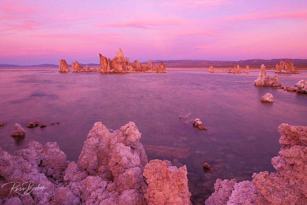 Evening light on tufa formations at the south shore of Mono Lake, Mono Basin National Scenic Area, California