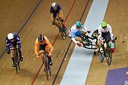 UEC European Championships Glasgow 2018 - Track 6th Day - Men Keirin - 07/08/2018 - Norbert Szabo (Romania) - Joachim Eilers (Germany) - Sandor Szalontay (Hungary) crash - Sergii Omelchenko (Azerbaijan) crash - Sam Ligtlee (Netherlands) - Sebastien Vigier (France) - photo Luca Bettini/BettiniPhoto©2018