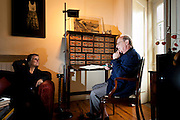 Antonio Tabucchi, italian professor and writer, sitting at his working desk in his home in Lisbon, in a conversation with Iris Radisch (journalist).