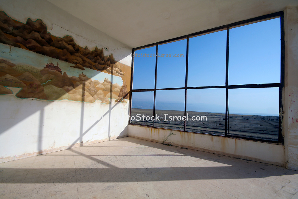 Israel, Dead Sea.a window overlooking the Dead Sea from the interior of an abandoned employee housing building (DSW) on the shore