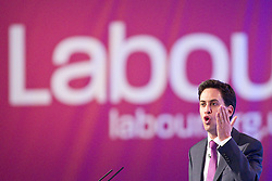 © Licensed to London News Pictures. 30/09/2012. Manchester, UK . Ed Miliband speaks from the podium in the conference hall . Labour Party Conference Day 1 at Manchester Central . Photo credit : Joel Goodman/LNP