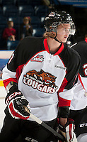 KELOWNA, CANADA - OCTOBER 18:   Marc McNulty #3 of the Prince George Cougars warms up on the ice as the Prince George Cougars visit the Kelowna Rockets on October 18, 2012 at Prospera Place in Kelowna, British Columbia, Canada (Photo by Marissa Baecker/Shoot the Breeze) *** Local Caption ***