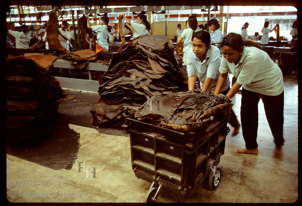 Women roll cart of rubber mats from inspection tables to press at United Krabi Rubber Company. Thailand