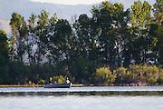 Two men fishing on Helena Holding Reservoir, Montana.