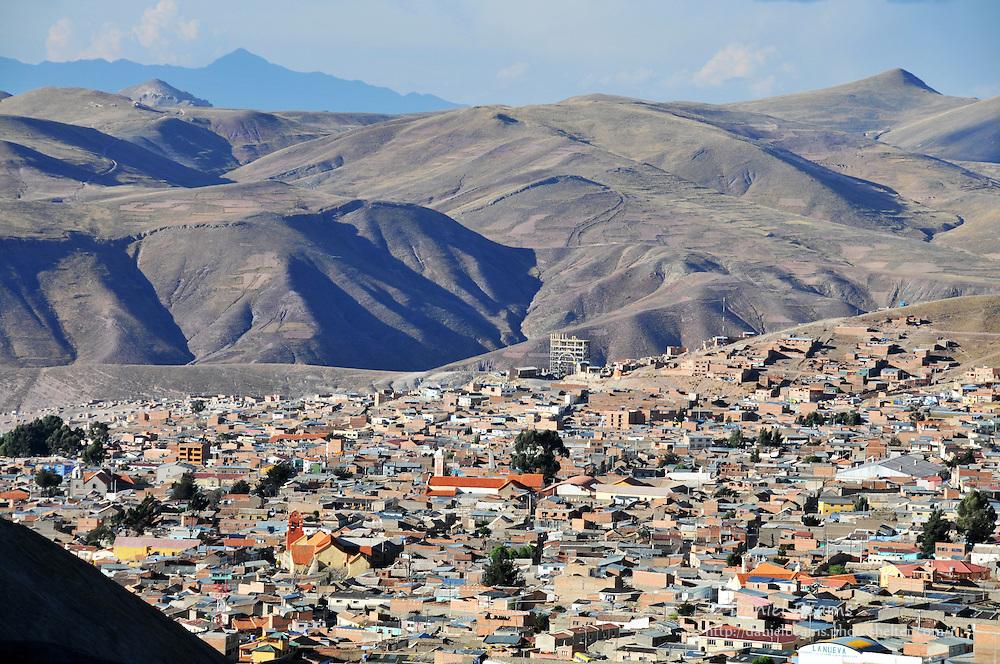 Potosi city seen from Cerro Rico silver mines, Potosi, Bolivia
