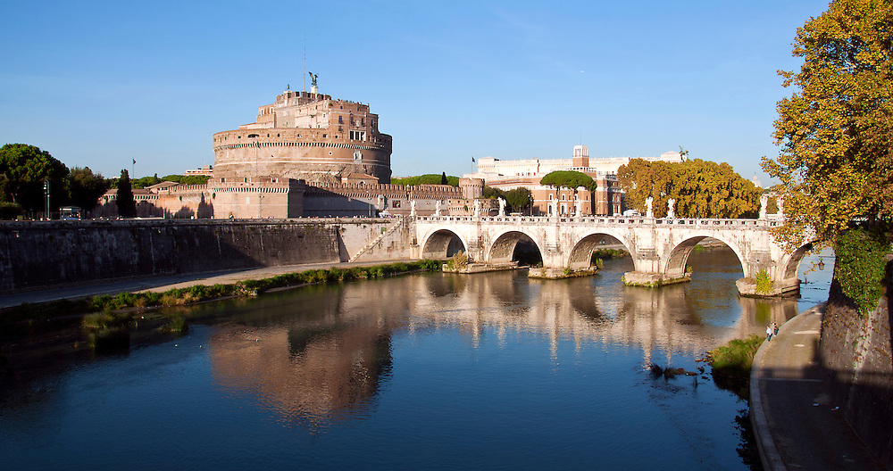 A reflection image of the Castle Saint'angelo.