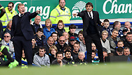 Antonio Conte manager of Chelsea and Everton manager Ronald Koeman during the English Premier League match at Goodison Park , Liverpool. Picture date: April 30th, 2017. Photo credit should read: Lynne Cameron/Sportimage