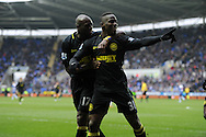Wigan's Maynor Figueroa (31) celebrates with teammate Emmerson Boyce after he scores his sides 3rd goal. Barclays Premier league, Reading v Wigan Athletic at the Madejski Stadium in Reading on Saturday 23rd Feb 2013. pic by Andrew Orchard, Andrew Orchard sports photography,