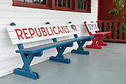 Benches on a front porch giving Republicans more room than Democrats. Missoula Photographer