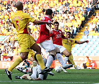 Photo: Paul Thomas.<br />Watford v Manchester United. The FA Cup, Semi Final. 14/04/2007.<br /><br />Cristiano Ronaldo (R) of Utd scores, set up by Wayne Rooney (L).