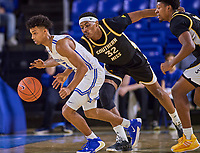 Middle Tennessee Blue Raiders guard Donovan Sims (3)  during the Southern Mississippi Golden Eagles at Middle Tennessee Blue Raiders college basketball game in Murfreesboro, Tennessee, Saturday, March, 7, 2020.<br /> Photo: Harrison McClary/All Tenn Sports