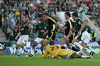 Photo: Lee Earle.<br /> Plymouth Argyle v Cardiff City. Coca Cola Championship. 15/09/2007. Cardiff's Gavin Rae (3rdL) scores their first.