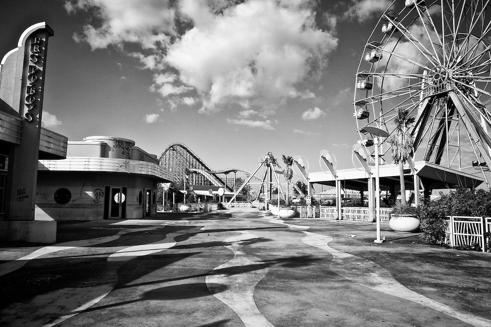 The Pontchartrain Beach area with the Mega Zeph roller coaster in the background and The Big Easy ferris wheel at the right at Six Flags in East New Orleans - five years later after Hurricane Katrina.