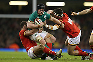 Sean O'Brien of Ireland is stopped by Scott Baldwin ® and Jamie Roberts of Wales (l). RBS Six Nations 2017 international rugby, Wales v Ireland at the Principality Stadium in Cardiff , South Wales on Friday 10th March 2017.  pic by Andrew Orchard, Andrew Orchard sports photography