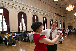 © Licensed to London News Pictures.  LONDON, UK. 22/04/2016<br /> St.George's Day Tea Dance at Old Town Hall, Stratford in the east end of London.<br />  Photo credit : Andrew Baker