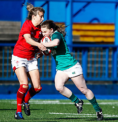 Nicole Cronin of Ireland  under pressure from Elinor Snowsill of Wales<br /> <br /> Photographer Simon King/Replay Images<br /> <br /> Six Nations Round 5 - Wales Women v Ireland Women- Sunday 17th March 2019 - Cardiff Arms Park - Cardiff<br /> <br /> World Copyright © Replay Images . All rights reserved. info@replayimages.co.uk - http://replayimages.co.uk