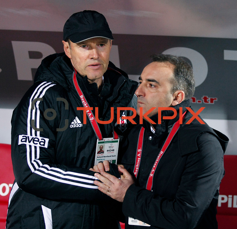 Besiktas's coach Carlos Carvalhal (R) and Roland Bernhard Koch (L) during their Turkish Superleague soccer match Ankaragucu between Besiktas at the 19 Mayis stadium in Ankara Turkey on Sunday 08 January 2012. Photo by TURKPIX