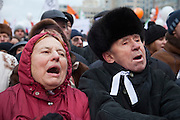 """Moscow, Russia, 24/12/2011..Protestors chant """"Russia without Putin"""" as an estimated crowd of up to 100,000 gathered to protest against election fraud and Prime Minister Vladimir Putin in the largest anti-government demonstration in Russia since the collapse of the Soviet Union."""