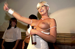 Jo Guest English former glamour model and media figure makes a personal appearance at Kingdom Nightclub Sheffield while filming for Channel 4 Reality TV Show The Steam Room<br /> 21 August 2004