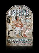 Ancient Egyptian stele of Djehutynefer called Seshu, Scribe, limestone, New Kingdom, 18th Dynasty, (1500-14253 BC), Thebes, Old Fund cat 1638. Egyptian Museum, Turin. black background,<br /> <br /> Djehutynefer called Seshu was the accountant scribe of cattle and fowl in the temple of Amon, and his wife the house mistress Benbu .<br /> <br /> If you prefer to buy from our ALAMY PHOTO LIBRARY  Collection visit : https://www.alamy.com/portfolio/paul-williams-funkystock/ancient-egyptian-art-artefacts.html  . Type -   Turin   - into the LOWER SEARCH WITHIN GALLERY box. Refine search by adding background colour, subject etc<br /> <br /> Visit our ANCIENT WORLD PHOTO COLLECTIONS for more photos to download or buy as wall art prints https://funkystock.photoshelter.com/gallery-collection/Ancient-World-Art-Antiquities-Historic-Sites-Pictures-Images-of/C00006u26yqSkDOM