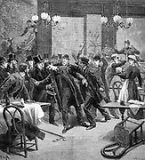 Knife attack on Georgevich, Serbian plenipotentiary in France ,in the Restaurant Duval, rue de l'Opera, Paris. From 'Le Petit Journal', Paris, 2 December 1893.  South-eastern Europe, Balkans