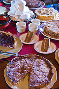 Home-baked cakes and tarts at An Fer Gorta traditional tearoom, Ballyvaughan, County Clare, West of Ireland