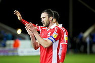 Scunthorpe Utd defender Rory McArdle (23) claps the fans after the EFL Sky Bet League 1 match between Peterborough United and Scunthorpe United at London Road, Peterborough, England on 1 January 2019.