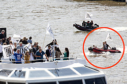 ©  London News Pictures. FIL PIC 15/06/2016. London, UK. BRENDAN COX (boat circled red), husband of Murdered Labour MP Jo Cox, drove a boat  on the Thames during a counter demonstration to the UKIP Thames Flotilla. Jo Cox died after being shot three times in the street near her office by an attacker. Photo credit : Tom Nicholson/LNP