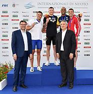 Giancarlo Giorgetti sottosegretario di stato , <br /> Nicolo Martinenghi Italy ITA Silver medal<br /> Adam Peaty Great Britain GBR Gold, <br /> Joao Gomes Junior Brazil Bra Bronze <br /> Caba Siladji Serbia SRB Bronze <br /> Paolo Barelli, <br /> Men's 100m Breaststroke <br /> Roma 21/06/2019 Stadio del Nuoto Foro Italico <br /> FIN 56 Trofeo Sette Colli 2019 Internazionali d'Italia<br /> Photo Andrea Staccioli/Deepbluemedia/Insidefoto